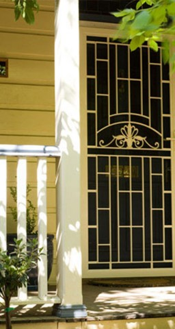 Cream and black mesh aluguard door in adelaide