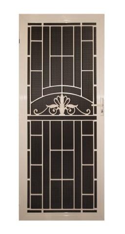 Decorative security door made from aluminium