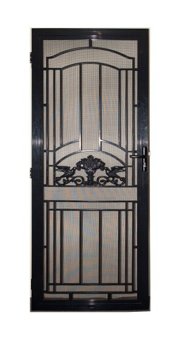 Decorative black aluminium screen door on white background