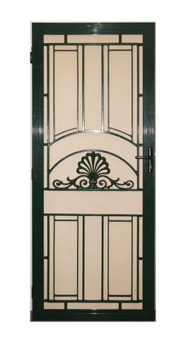 Decorative aluminium screen door on white background