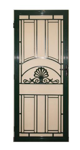 Decorative aluminium screen door on white background