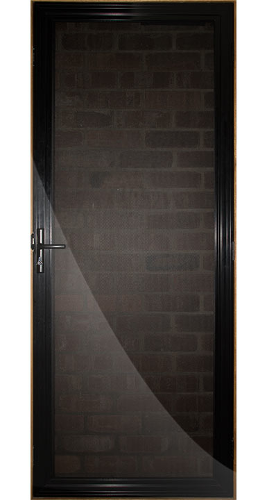 Black mesh screen door